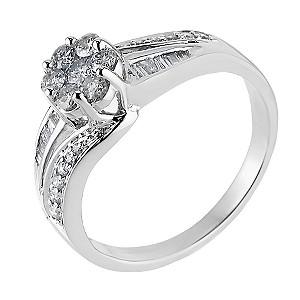 18ct White Gold Half Carat Diamond Cluster Ring