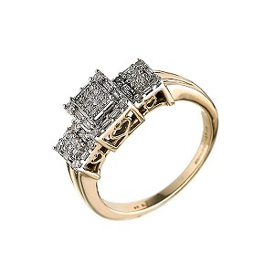 9ct Gold 0.25 Carat Diamond Cluster Ring - Product number 6313965