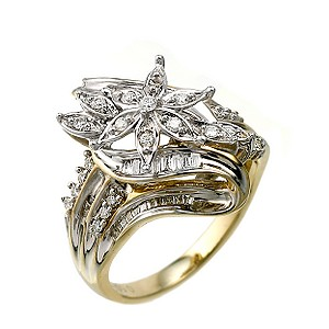 9ct Two Colour Gold 0.50 Carat Diamond Flower Cluster Ring