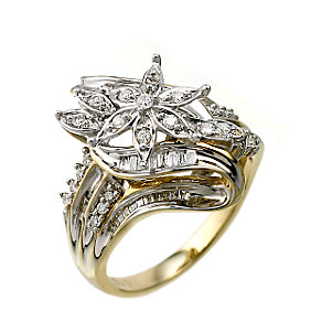 9ct Two Colour Gold 0.50 Carat Diamond Flower Cluster Ring - Product number 6314996