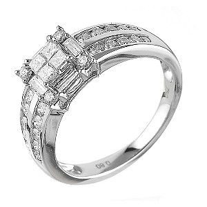 18ct White Gold 0.80 Carat Diamond Princessa Ring
