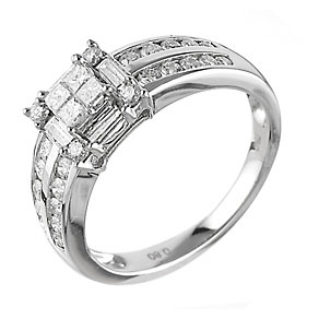 18ct White Gold 0.80 Carat Diamond Princessa Ring - Product number 6315275