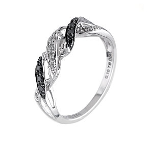 Noir 9ct White Gold  White & Treated Black Diamond Ring - Product number 6315569
