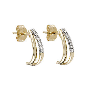 9ct Yellow Gold Diamond Half Hoop Earrings - Product number 6317952
