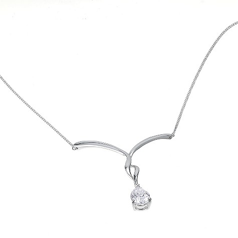 9ct white gold cubic zirconia pear drop necklace