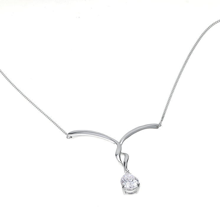 9ct white gold cubic zirconia pear drop necklace - Product number 6322557