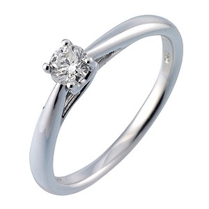 9ct White Gold Quarter Carat Diamond Ring Ernest Jones