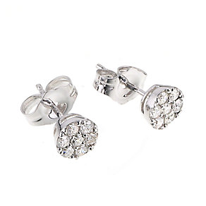 9ct white gold quarter carat diamond cluster stud earrings - Product number 6324185