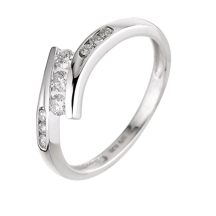 9ct white gold quarter carat diamond ring - Product number 6325076