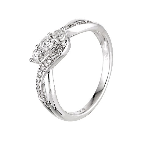 9ct white gold third carat diamond 3 stone ring