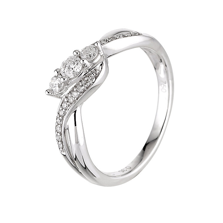 9ct white gold third carat diamond 3 stone ring - Product number 6325882
