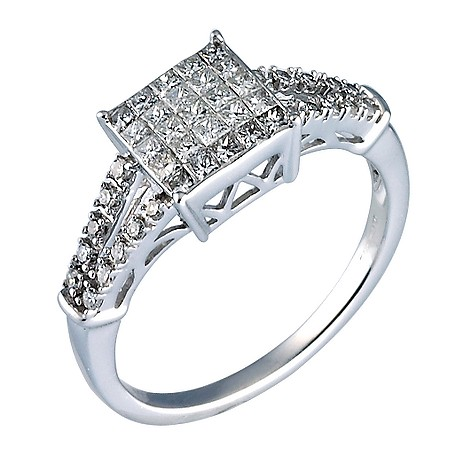18ct white gold half carat diamond ring