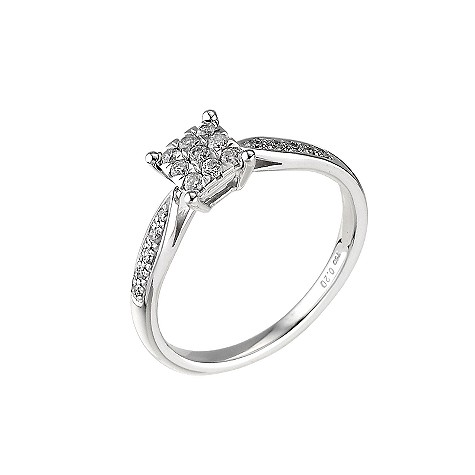 18ct white gold fifth carat diamond square cluster ring