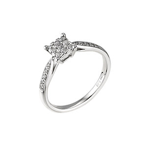 18ct white gold fifth carat diamond square cluster ring - Product number 6326811