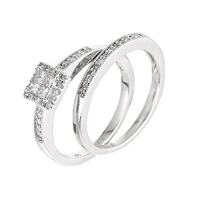 18ct white gold third carat diamond bridal set - Product number 6327354