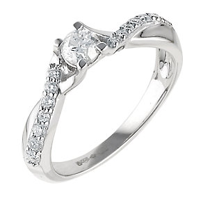 Platinum half carat diamond solitaire ring - Product number 6330533