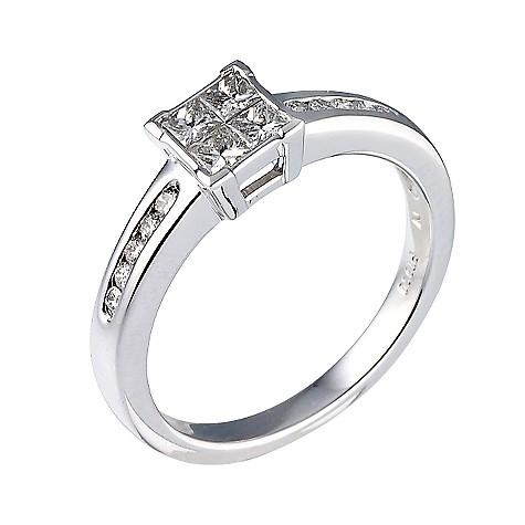 Platinum half carat diamond cluster ring