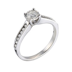 9ct White Gold Half Carat Pave Diamond Ring