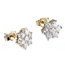18ct gold one carat diamond daisy stud earrings - Product number 6335063