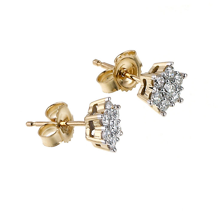 18ct gold third carat diamond daisy cluster earrings - Product number 6335098