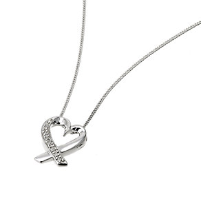 9ct White Gold Diamond Heart Pendant - Product number 6339840