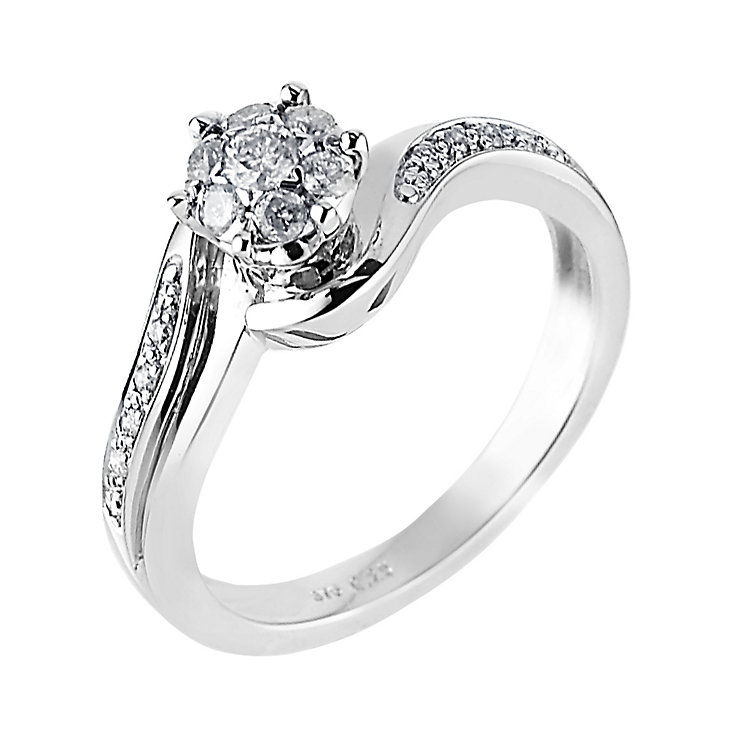 9ct White Gold Quarter Carat Diamond Cluster Ring - Product number 6340865