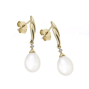 9ct yellow gold cultured freshwater pearl drop earrings - Product number 6341896