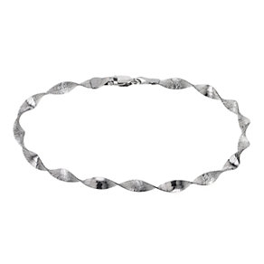 "9ct White Gold 7.25"" Twist Herringbone Bracelet - Product number 6342612"