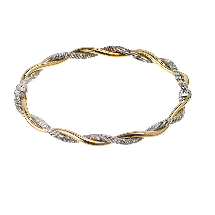 9ct two colour gold twist bangle - Product number 6346243