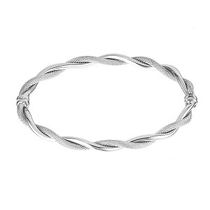 9ct white gold twist textured bangle - Product number 6346286