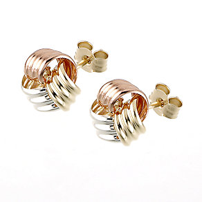 9ct three colour gold stud earrings - Product number 6348343
