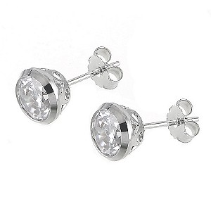 9ct white gold 6mm cubic zirconia stud earrings - Product number 6348408