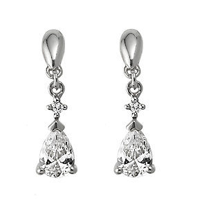 9ct white gold cubic zirconia drop earrings - Product number 6348483