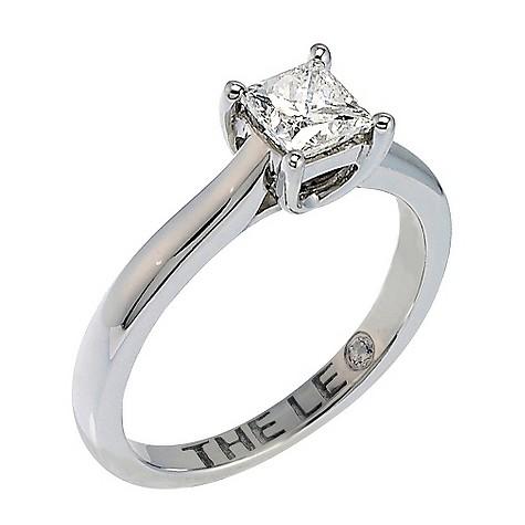 Platinum 66 point Leo Diamond solitaire ring