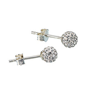 Sterling Silver Crystal Glitter Ball Stud Earrings - Product number 6352790