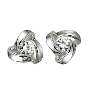 Sterling Silver Cubic Zirconia Knot Stud Earrings - Product number 6352901