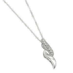 Sterling Silver Cubic Zirconia Double Wave Pendant - Product number 6353363
