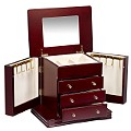 Square Mahogany Finish Jewellery Box - Product number 6355730