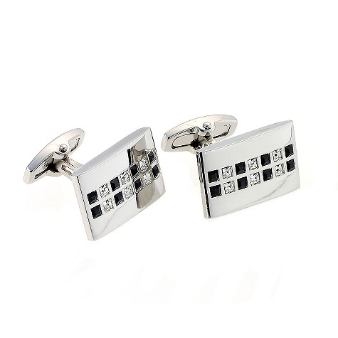 Mile black and white crystal cufflinks