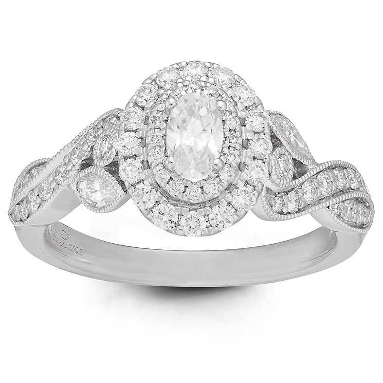 Neil Lane Bridal 14ct White Gold 0.87ct Diamond Halo Ring - Product number 6361277