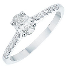 18ct White Gold 0.66ct Oval Cut Diamond Solitaire Ring - Product number 6364357