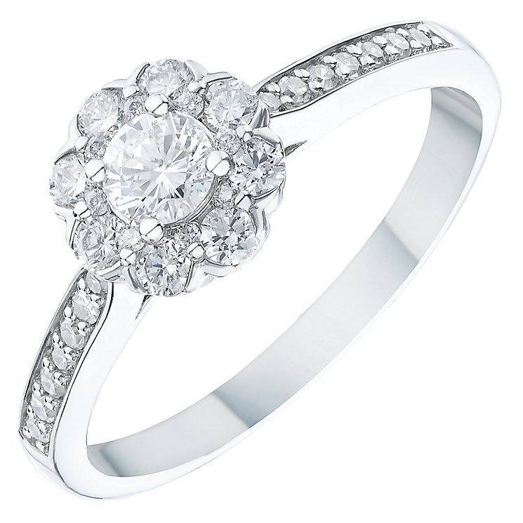 Platinum 0.45ct Diamond Flower Halo Ring - Product number 6366201