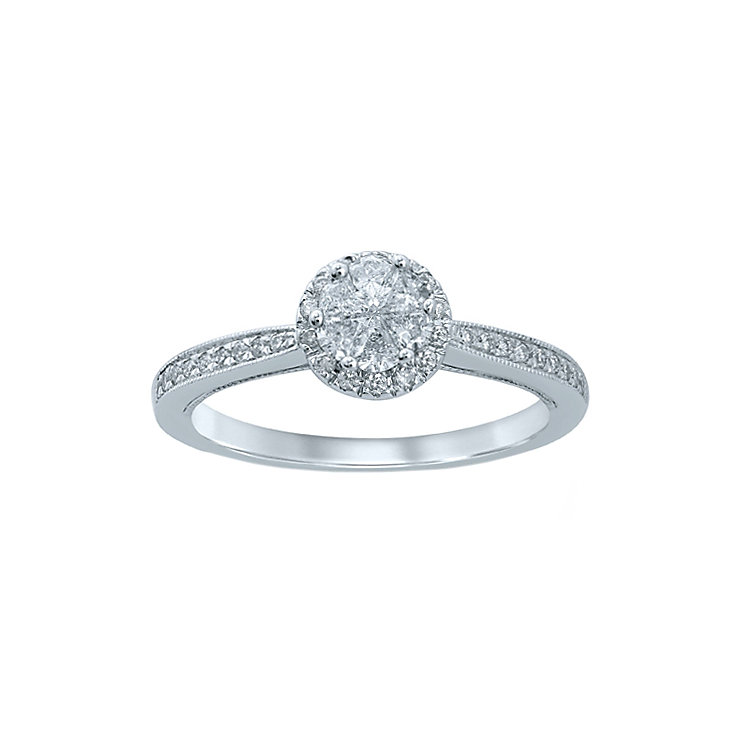 Love Cut 18ct White Gold 0.40ct Round  Diamond Ring - Product number 6366996