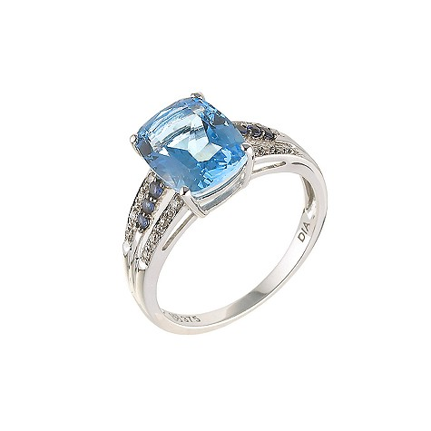 Unbranded 9ct white gold diamond blue topaz and sapphire