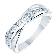18ct White Gold 0.50ct Diamond Crossover Eternity Ring - Product number 6368050