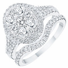 18ct White Gold 1.50ct Diamond Oval Shaped Bridal Set - Product number 6369235
