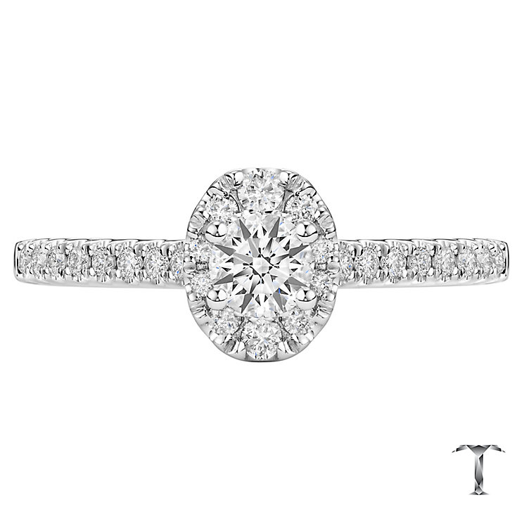 Tolkowksy 18ct White Gold 0.50ct Diamond Oval Halo Ring - Product number 6372791
