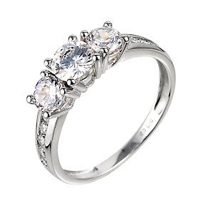 9ct White Gold Three Stone Cubic Zirconia Ring - Product number 6373054