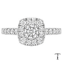 Tolkowsky 18ct White Gold 1ct Cushion Diamond Halo Ring - Product number 6373542