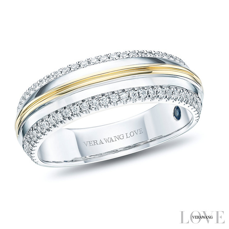 Vera Wang Men's 18ct White Yellow Gold 0.30ct Diamond Band - Product number 6374697